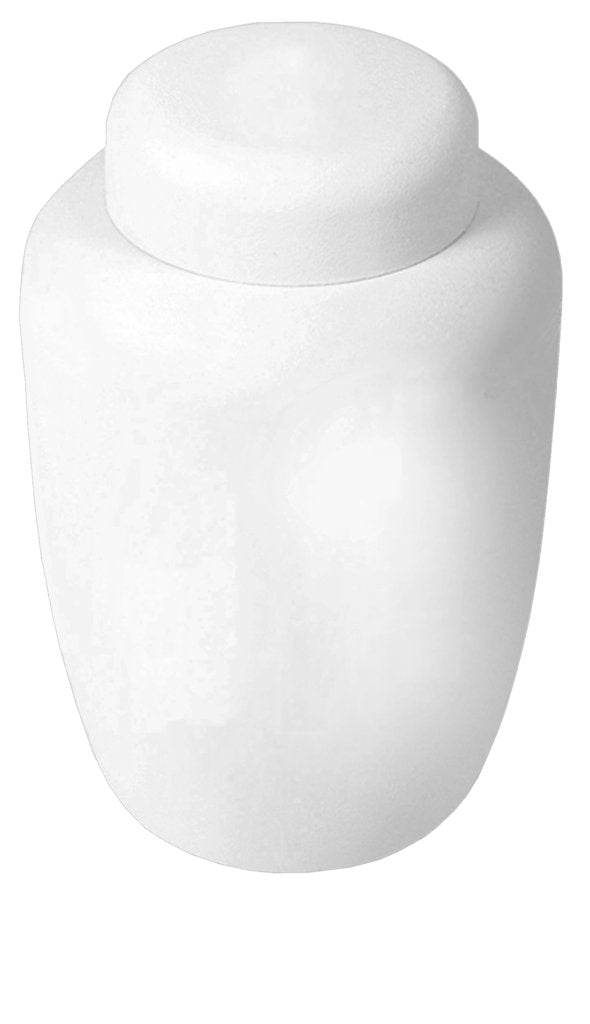 "White biodegradable cremation urn made of cornstarch. Dimentions: 6.75"" W x 10.25"" H, and Capacity: 238 Cubic Inches."