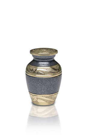 Elegant Cremation Urn in Black with hand-tooled design brass band. Threaded lid allows secure closure. Felt-lined base.
