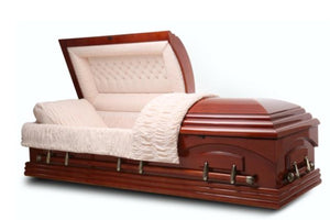 teak wood casket is handmade of durable veneer that's polished to a gloss finish and adorn with all bronze steel hardware fittings. The interior is beautifully lined in beige velvet.