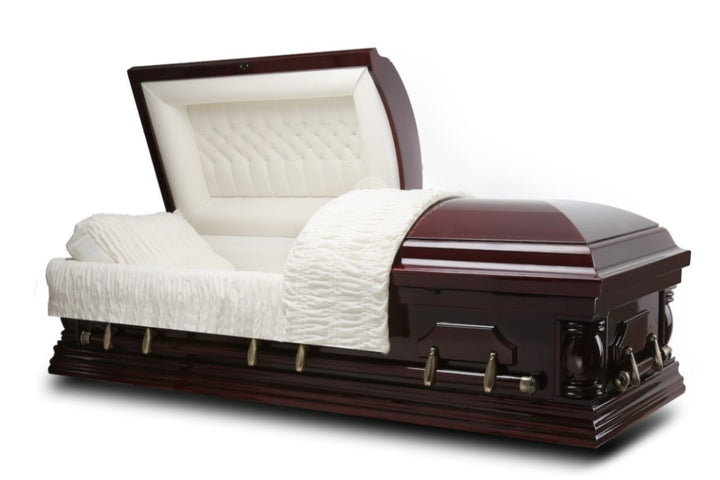 Cherry Wood Veneer Casket is handmade and polished to a gloss finish and comes adorned with all bronze steel hardware. The interior is beautifully lined in ivory velvet.