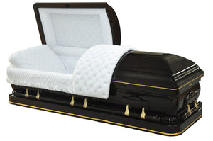 Solid wood casket in elm with gold trim inlay, gold zinc hardware, and ivory velvet interior lining.