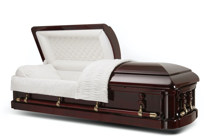 solid mahogany wood casket is polished to a gloss finish and comes with high-quality bronze hardware fittings and plush ivory velvet interior.