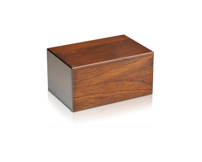 Plain wooden cremation urn box in various sizes.