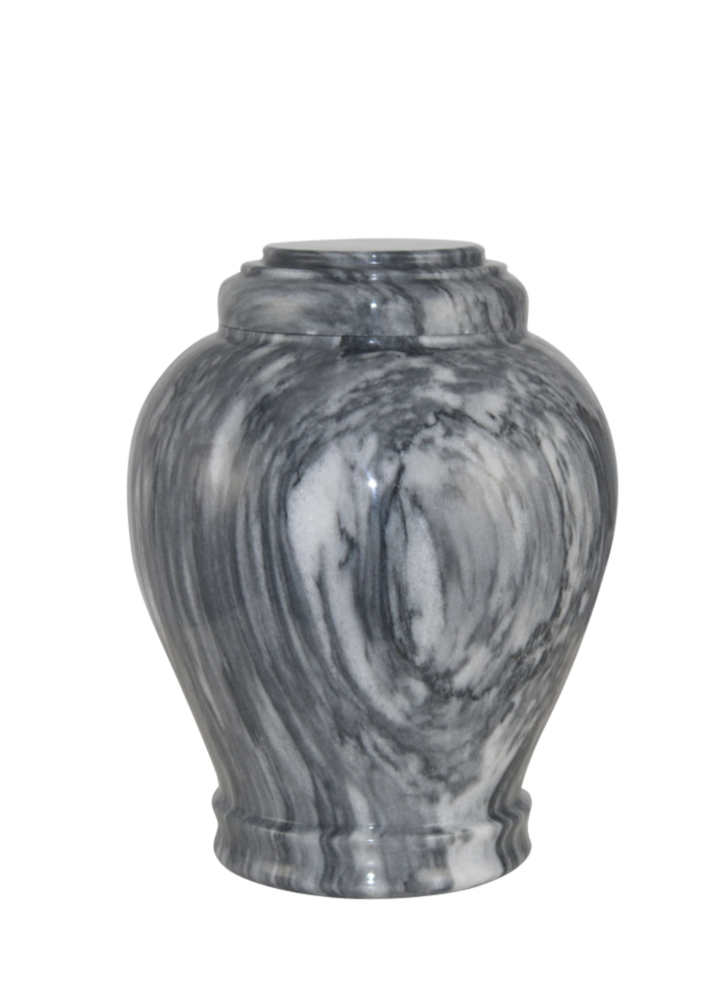 "Gray handcrafted natural marble memorial urns. Dimensions Height: 10.5"" Diameter: 8.5? Capacity: 220 Cubic Inches."