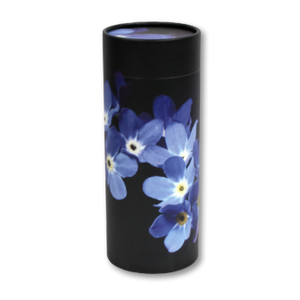 "Mini scatter tubes, Forget-Me-Not design. Size: 5.25"" * 2.95"" Capacity: 20 cubic inches, made from renewable resources and biodegradable."