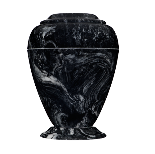 Georgian marble cremation urns in solid black cultured marble. Dim:  10.75? H x 8? W, Cap:  235 Cubic Inches, and Wgt: 8 lbs.