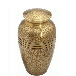 Brass cremation urn in elegant gold finish. Large Size Dimensions: 10? H * 6 W? Capacity: 240 Cubic Inches.