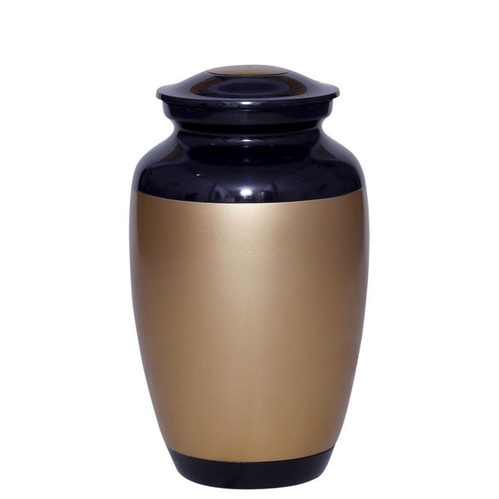 Black cremation urn with large gold band, and made of strong alloy metal. Large Size Dimensions: 10? H * 6 W? Capacity: 240 Cubic Inches.
