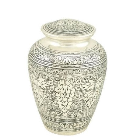 Decorative pewter cremation urn. Large Size Dimensions: 10? H * 6 W? Capacity: 240 Cubic Inches.