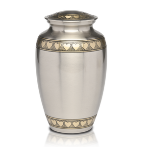 Beautiful Classic Brass Urn with Brushed Pewter Finish and Golden Brass Hearts. Threaded lid allows secure closure.