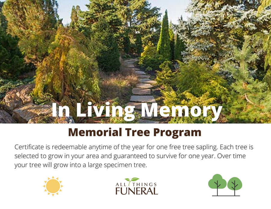 Memorial living tree certificate