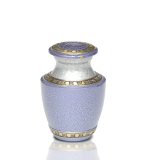 Brass Cremation Adult Urn in Lilac and Silver colors with Hand-tooled Brass Band. Threaded lid allows secure closure.
