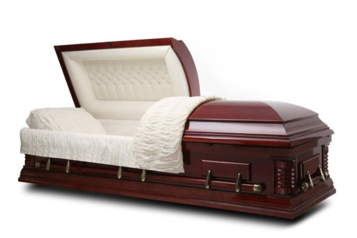 Solid wood casket made from poplar wood and lined with deluxe ivory velvet.polished to a cherry gloss finish and comes with high-quality bronze hardware and matching pillow.