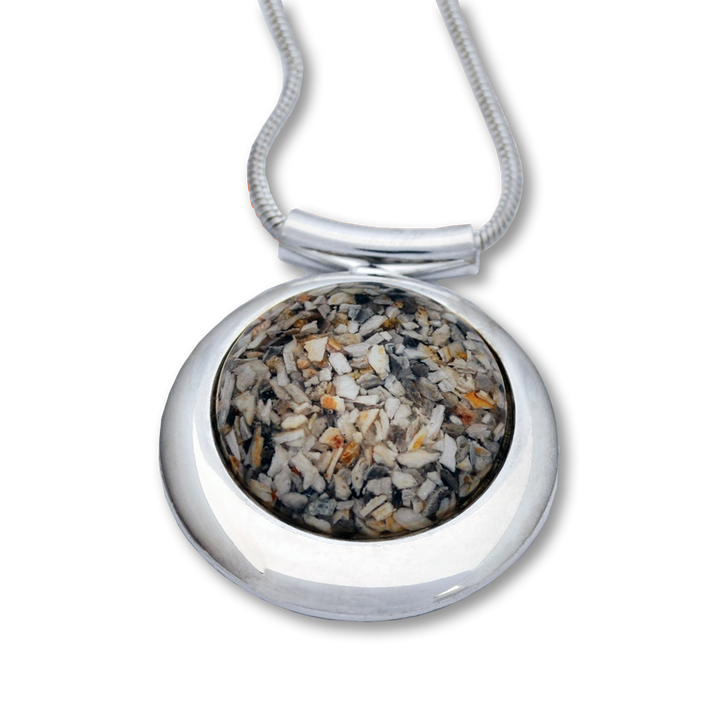 "Large round deluxe memorial jewelry pendant uses a loved one's cremated remains or lock of hair to fashion handmade mementos that are as unique as the individual. Size: 1.3"" Diameter."
