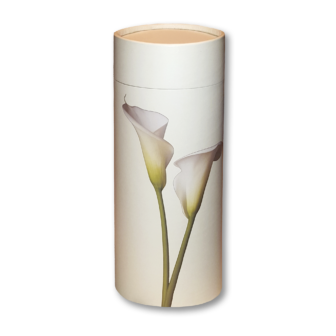 "Mini scatter tubes, Lily design. Size: 5.25"" * 2.95"" Capacity: 20 cubic inches, made from renewable resources and biodegradable."