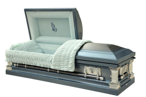 Blue coffin in 18 gauge stainless steel, lined in plush blue velvet.