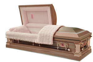 Pink casket made of 18 gauge stainless steel in brushed ice rose finish and lined in pink velvet.