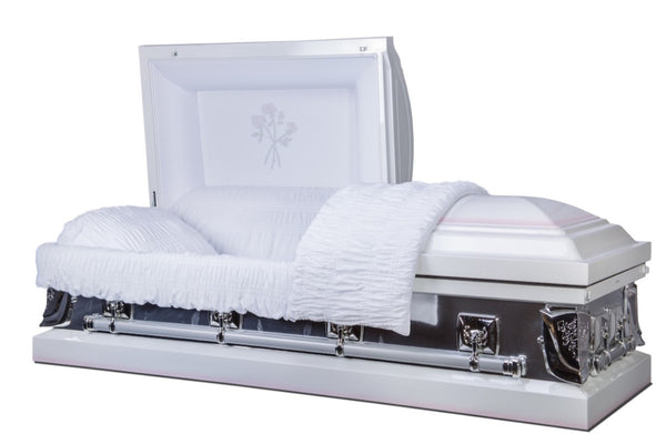 White casket made of 18 gauge steel with mirror rose finish, and lined in white velvet.