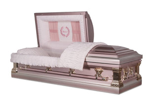 Pink Metal Casket is handmade of 18 gauge steel finished to a gloss pink with Mother embroidery and fine gold accents and hardware fittings. The interior comes with pink crepe fabric and soft matching pillow.