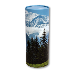 "Token keepsake scatter tube with Mountain View design. Dimensions 4.75"" * 2"" and Capacity: 10 cubic inches."