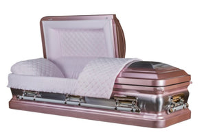 Rose Pink Metal Casket with Silver Shades