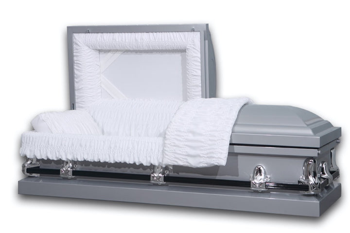 Silver casket made of 20 gauge steel, and lined with soft white crepe fabric.