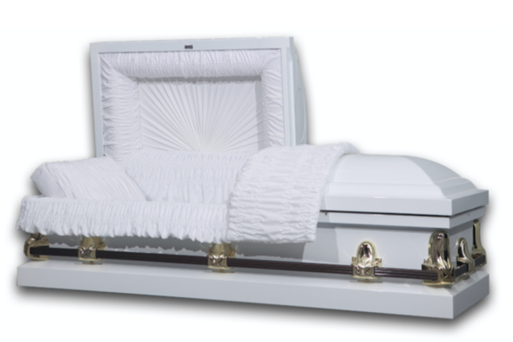 White casket made of 20 gauge steel with gold hardware and dark handles, and white velvet interior.