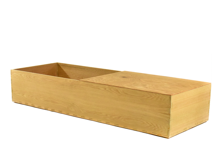 Oak Wood Casket with open lid