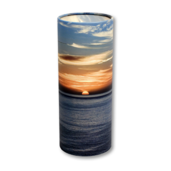"Small scatter tube for ashes with Ocean Sunset design. Size 8.9"" * 2.95""; 40 cubic inch capacity."