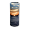 "Large scatter tube for ashes with Ocean Sunset design. Large size 12.6"" * 5.1"", 200 cubic inch capacity."