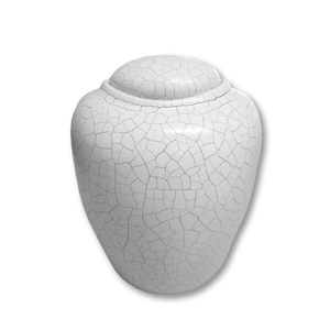 "Cremation urn for water burial in antique white finish. Large Adult Size Dimensions: 7.5"" Dia. * 9"" H and Capacity: 200 cubic inches."