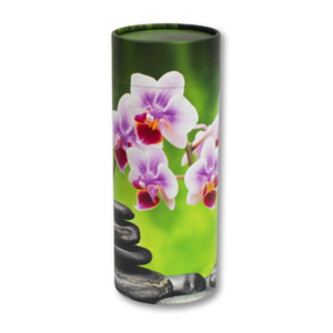 "Mini scatter tubes, Orchid design. Size: 5.25"" * 2.95"" Capacity: 20 cubic inches, made from renewable resources and biodegradable."