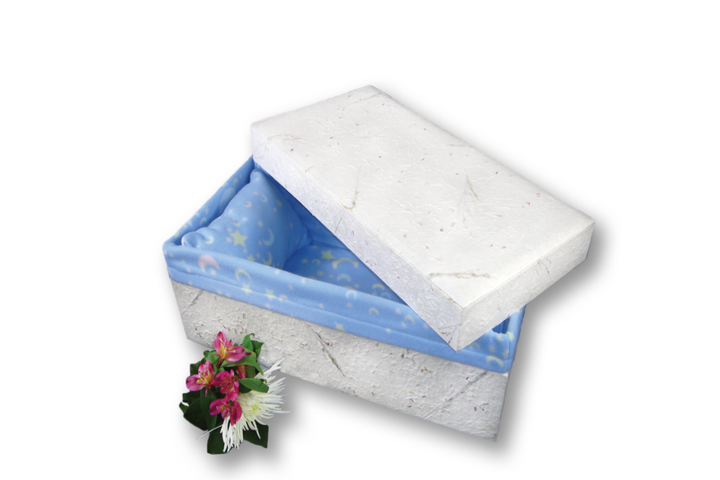 "Baby casket handmade of handcrafted paper, and lined with baby blue fleece. Available in five sizes 12"" to 32."" Financing available, no interest plans. Free shipping."