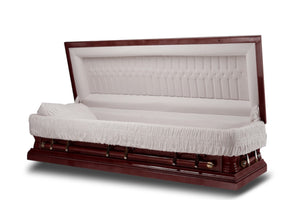 Full Couch Casket is handmade of durable cherry wood veneer that's polished to a gloss finish and comes adorned with high-grade bronze steel hardware. The interior comes beautifully lined in ivory velvet.