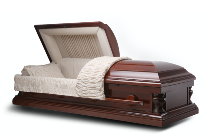 Cremation casket made of walnut wood veneer, and lined with fine ivory velvet.