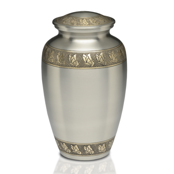 Brushed pewter with Hand-engraved butterfly Brass Band design. Threaded lid allows secure closure. Felt-lined base.