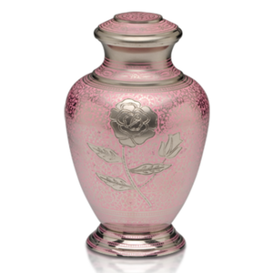 Exquisite Pink Nickel plated brass cremation urn with hand-engraved rose design.Threaded lid allows secure closure. Felt-lined base.