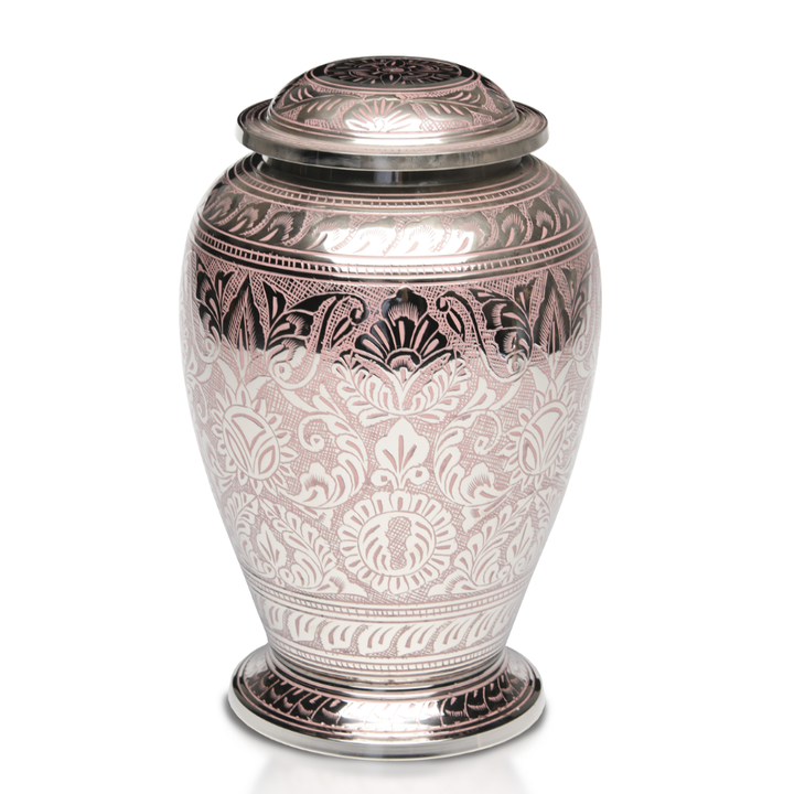 Adult Brass Adult Cremation Urn with nickel overlay and pink pattern. Threaded lid allows secure closure. Felt-lined base.