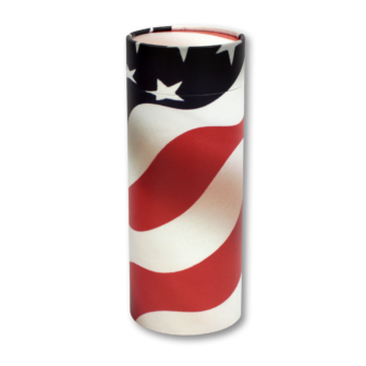"Extra large scatter tube for ashes with Patriot design. XL Size Size 14.5' * 5.1""; 240 cubic inch capacity."