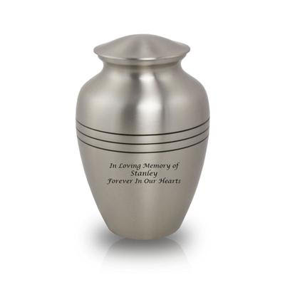 Adult brushed pewter cremation urn with three ring design.