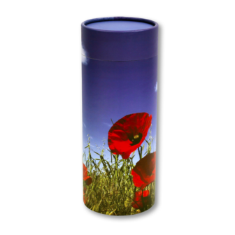 "Large scatter tube for ashes with Poppy Flower design. Large size 12.6"" * 5.1"", 200 cubic inch capacity."