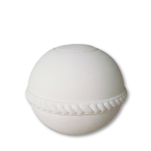 "Biodegradable urns for water in white round quartz finish. Adult  Size Urn. Dim: 9.75""Dia. x 8.25""H and Capacity: 210 Cubic Inches."
