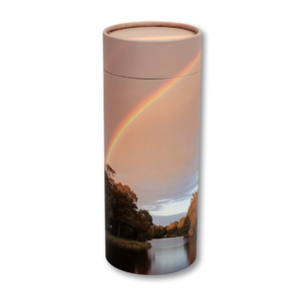 "Token keepsake scatter tube with Rainbow Pond design. Dimensions 4.75"" * 2"" and Capacity: 10 cubic inches."