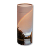 "Small scatter tube for ashes with Rainbow Pond design. Size 8.9"" * 2.95""; 40 cubic inch capacity."