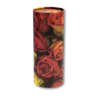 "Large scatter tube for ashes with Rose design. Large size 12.6"" * 5.1"", 200 cubic inch capacity."