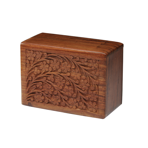 Handmade wooden urns with Tree of Life design.
