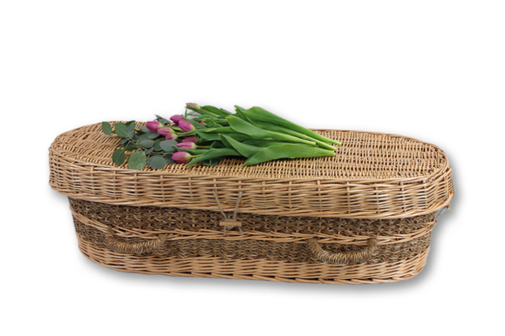 "Our seagrass infant caskets are handmade of willow and accented with natural seagrass, and come fully lined with soft natural cotton and matching pillow.  Free ground shipping.  Available size are  18"", 24"", 36"", and 48."""