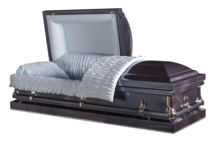 Blue casket made in 20 gauge steel and lined with plush blue velvet.