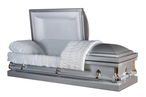 Silver casket made of 20 gauge steel with silver hardware and handles.