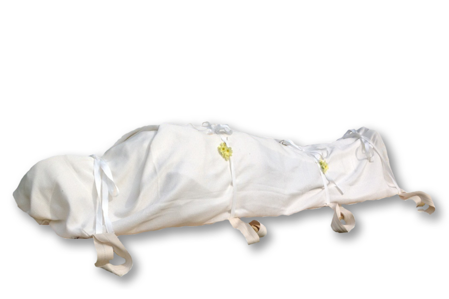 Shroud made of natural unbleached cotton, and fully biodegradable for either burial or cremation. Financing available, no interest plans. Free Shipping.